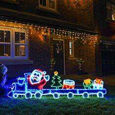 2.5m Outdoor Christmas Santa on Train Tinsel Silhouette, 576 Multi Colour LEDs