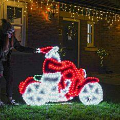 1.5m Outdoor Santa on Motorbike Tinsel Silhouette, 672 Multi Colour LEDs