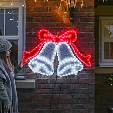 1m Outdoor Twin Bell Tinsel Christmas Silhouette, 240 Red & White LEDs