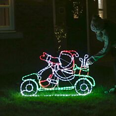 1.1m Outdoor Santa on a Golf Buggy Rope Light Christmas Silhouette, 456 Multi Colour LEDs