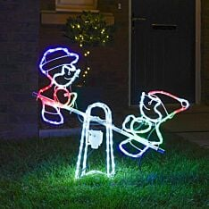 85cm Outdoor Animated Elves on Seesaw Rope Light Christmas Silhouette, 144 Multi Colour LEDs