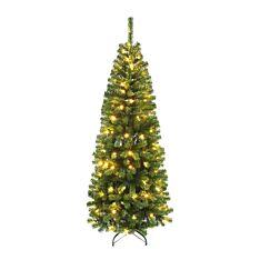 6ft Pre Lit Pencil Christmas Tree, 130 Warm White LEDs
