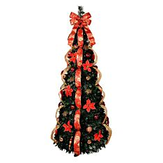 5ft Pre Lit pop up Christmas Tree with Decorations, 150 Warm White LEDs