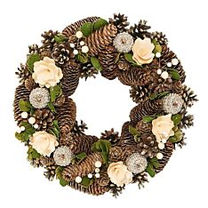 36cm Cream and Gold Decoration Chrismtas Wreath
