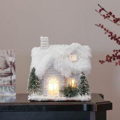 16.5cm Silver & White Battery Tabletop Lodge Village Scene