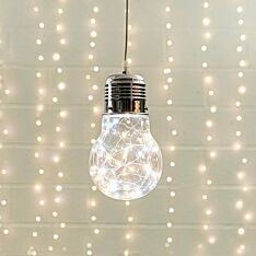 Hanging Glass Festoon Bulb with LED Firefly Lights