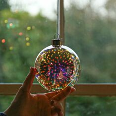 10cm Battery 3D Effect Glass Christmas Tree LED Bauble