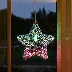 18cm Purple & Blue Battery Glass LED Star Christmas Tree Decoration