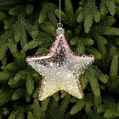 18cm Gold Battery Glass LED Star Christmas Tree Decoration