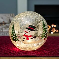 20cm Battery Tabletop Crackle Effect Snowman Ball