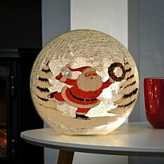 20cm Battery Tabletop Crackle Effect Santa Ball