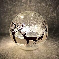 15cm Battery Tabletop Crackle Effect Reindeer Ball