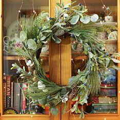 60cm Mistletoe and Cone Christmas Wreath