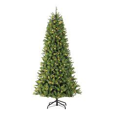 7.5ft Pre Lit Slim Kensington PE Christmas Tree, 300 Warm White LEDs
