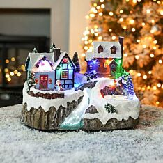 24cm Battery & USB Musical Village Scene With Rotating Ice Skaters
