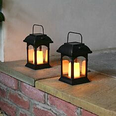 Solar Powered Flickering LED Candle Lantern, 2 Pack