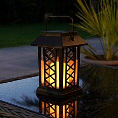 Solar Flickering LED Candle Lantern, 17.5cm