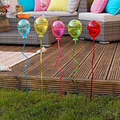 Solar Balloon Stake Lights, 5 Pack