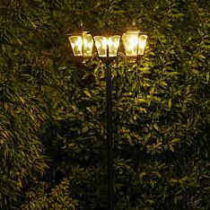 Solar Filament Effect LED Triple Head Security Lamp Post, 2.1m