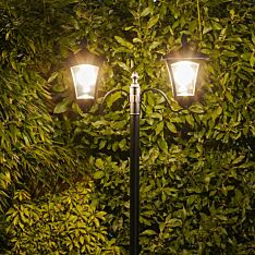 Solar Filament Effect LED Twin Head Security Lamp Post, 2.1m