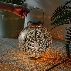 Solar Pewter Moroccan Lantern