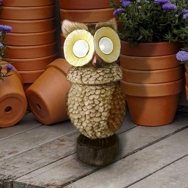Solar Novelty Owl Figure with Rotating Head, 31cm