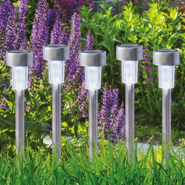 Solar Stainless Steel Stake Lights, 10 Pack