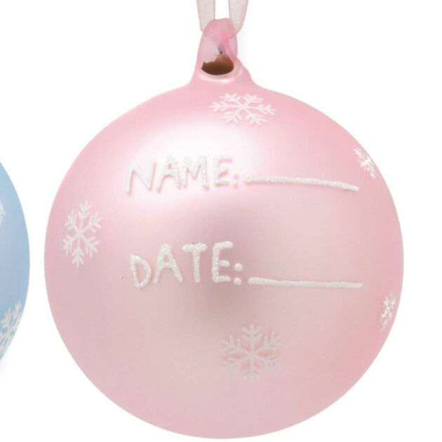 Baby's First Glass Ornament, Pink