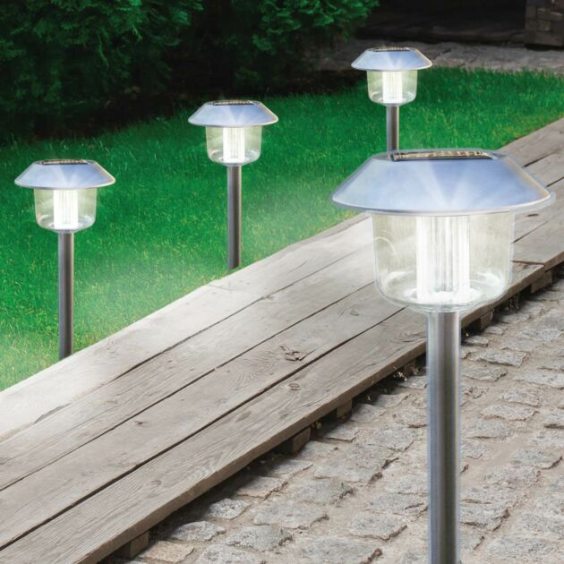Solar Stainless Steel Stake Lights, 4 Pack
