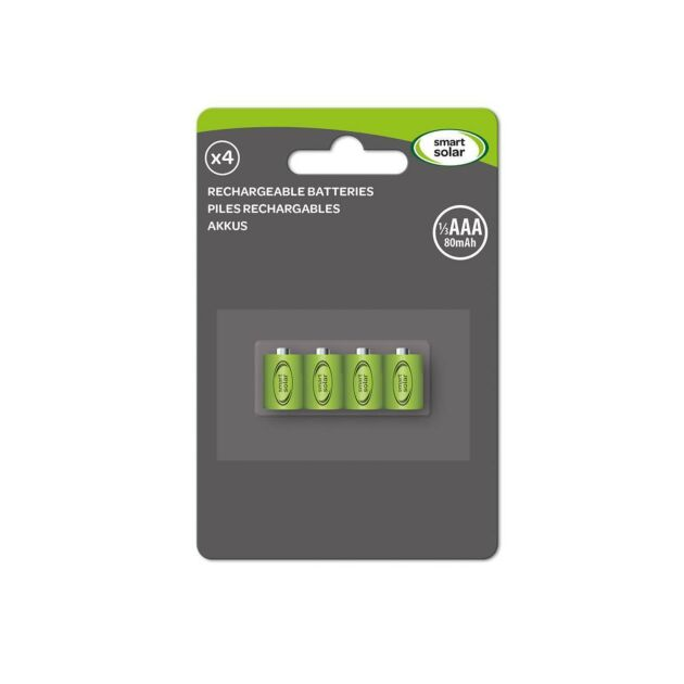 Solar Rechargeable Batteries, 1/3 AAA 80 mAh, 4 Pack