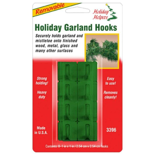 Green Removable Garland Hooks, 8 Pack