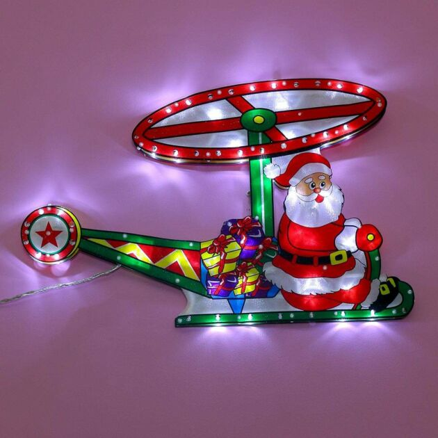60cm Indoor Animated Santa Helicopter Silhouette