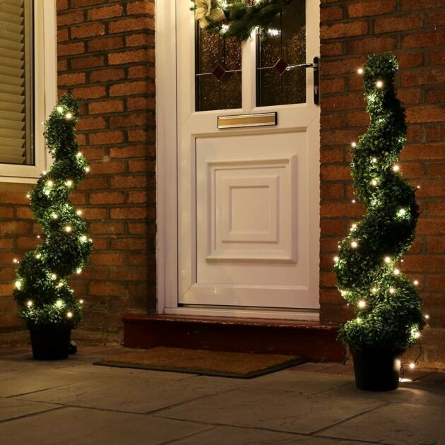 5m Outdoor Battery Fairy Lights, Green Cable
