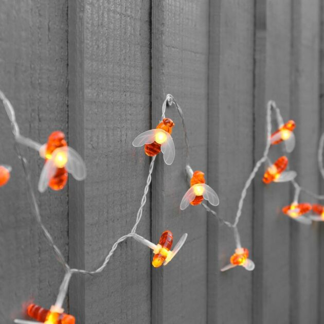 5m Outdoor Battery Bee Fairy Lights, Warm White LEDs, Clear Cable