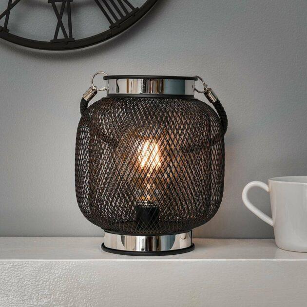 Battery Metal Globe Filament Effect LED Lantern