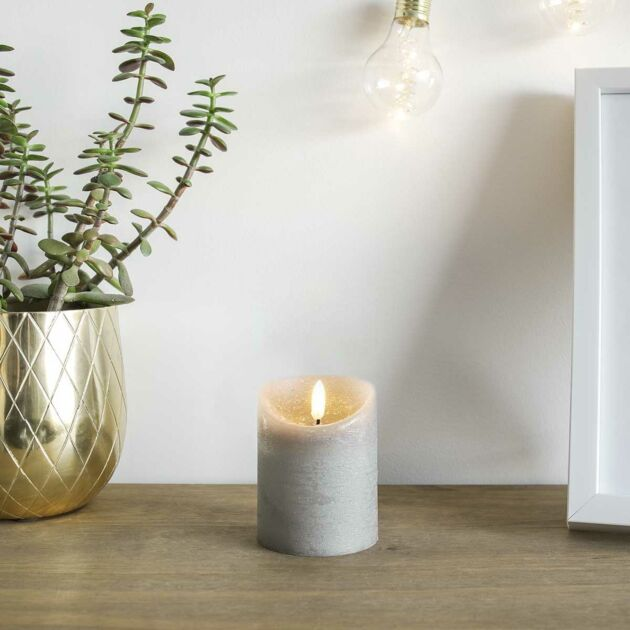 Grey Battery Real Wax Authentic Flame LED Candle, 10cm