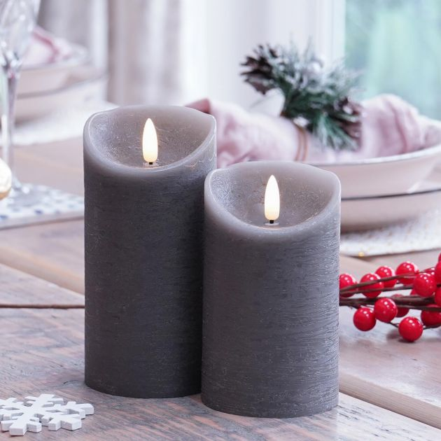 Grey Battery Real Wax Authentic Flame LED Candle, 2 Pack