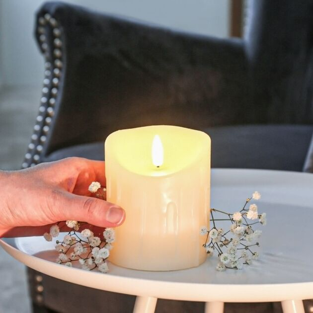 Ivory Battery Real Dripping Wax Authentic Flame LED Candle, 10cm