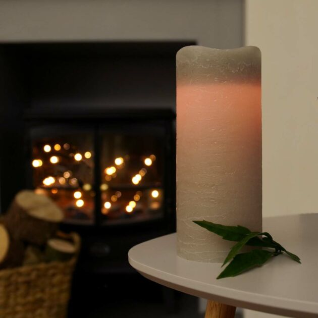 Grey Battery Real Wax Flickering LED Wick Candle, 18cm