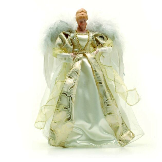30cm Cream & Gold Angel Tree Topper/Table Decoration