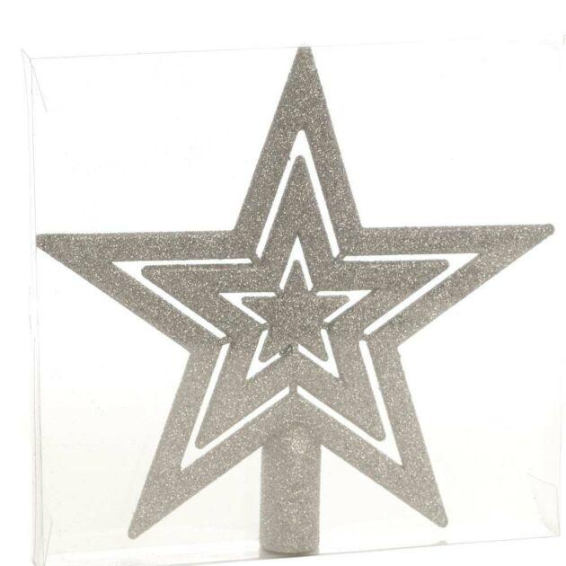 20cm Silver Glitter Star Christmas Tree Topper