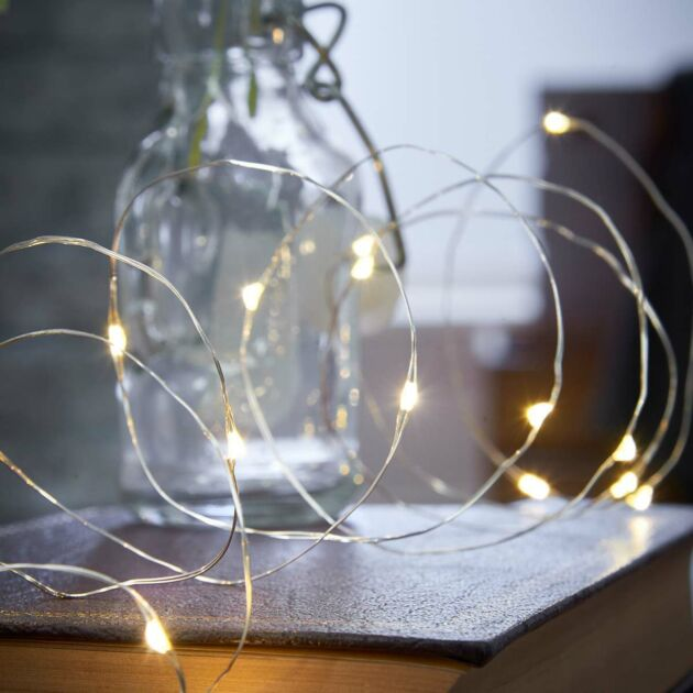 2m Battery Silver Firefly Wire Fairy Lights, 20 LEDs