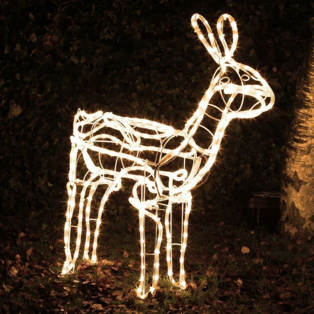 1.1m Warm White Illuminated LED Standing Doe Deer