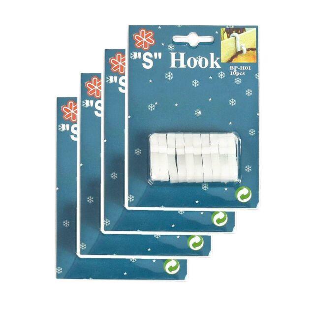 White 'S' Gutter Hooks for 20 metre Lights, 40 Pack