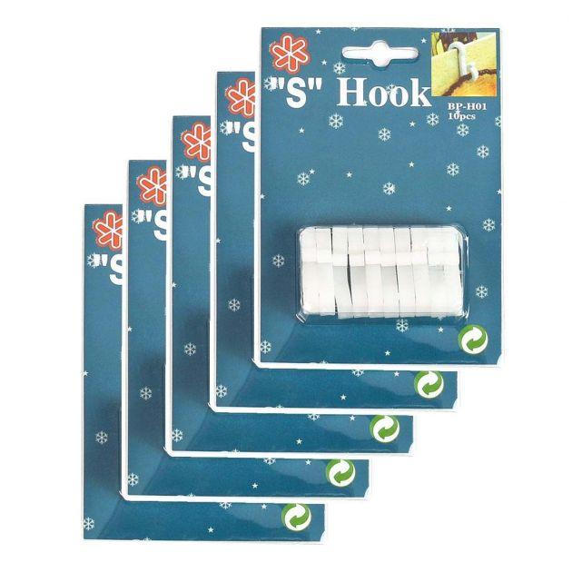 White 'S' Gutter Hooks for 25 and 30 metre Lights, 50 Pack