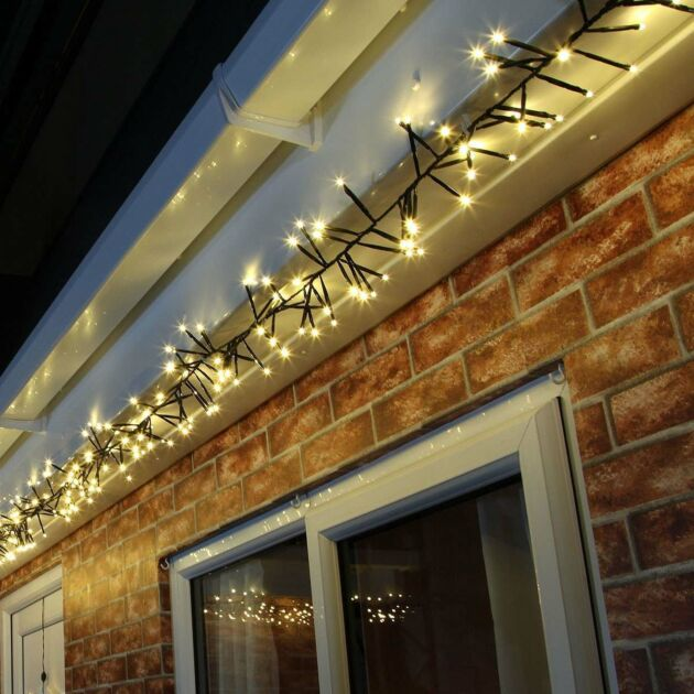 4.5m Warm White Cluster Lights, Connectable, 400 LEDs, Green Cable