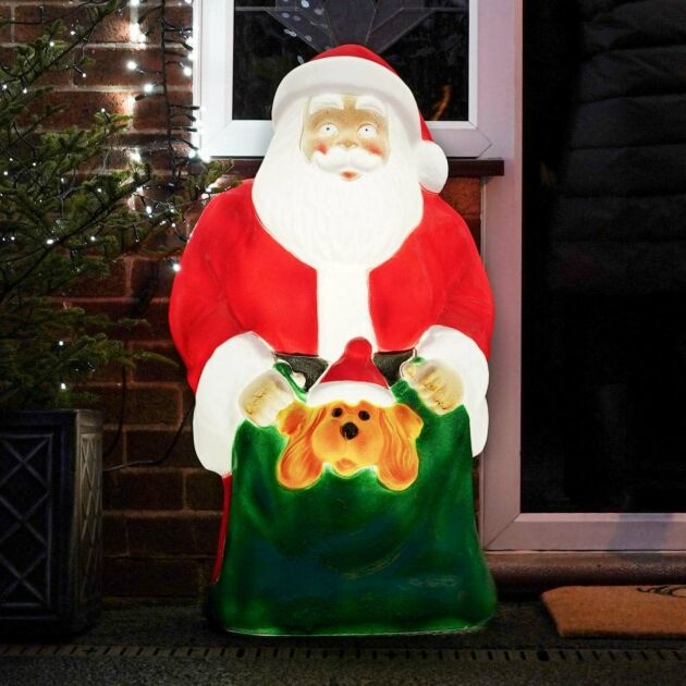 Large Outdoor Santa and Puppy Blow Mould Christmas Figure