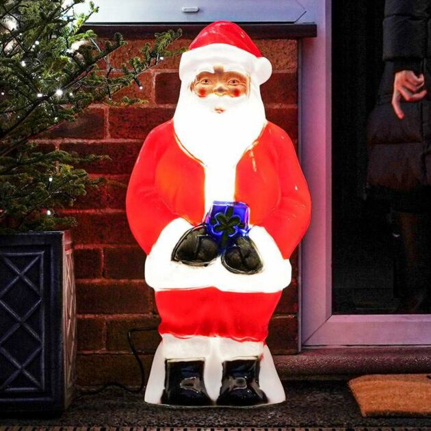 Medium Outdoor Santa & Gift Blow Mould Christmas Figure