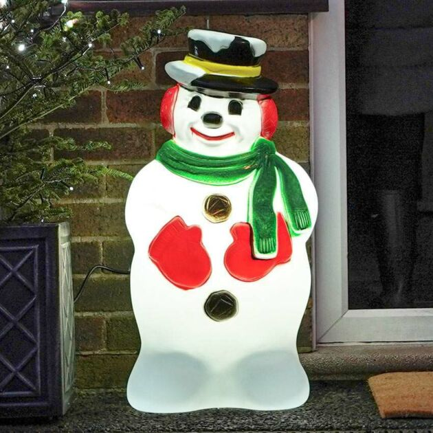 Medium Outdoor Snowman with Scarf Blow Mould Christmas Figure
