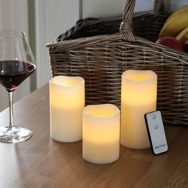 3 Battery Operated Flickering Scented Wax LED Candles with Remote Control